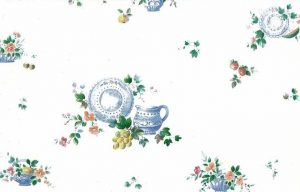 Vintage Fruit Wallpaper Border with Pitchers, Bowls, & Plates