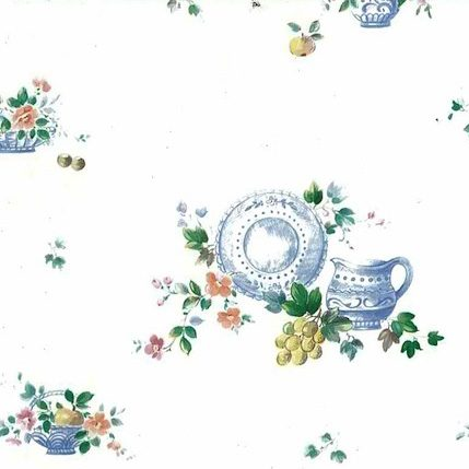 Vintage Fruit Wallpaper Border with Pitchers, Bowls, & Plates