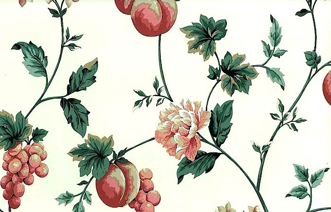 Peach Floral Vintage Wallpaper in White, Rose, & Green
