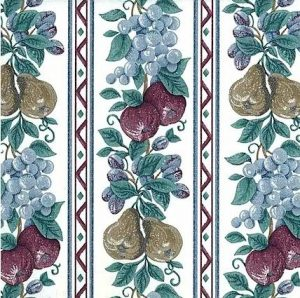 Vintage Fruit Striped Wallpaper in Blue, Red, Green, & White