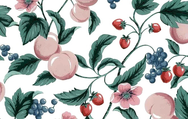 Vintage Waverly Peaches Wallpaper in Pink, Green, Red, & White