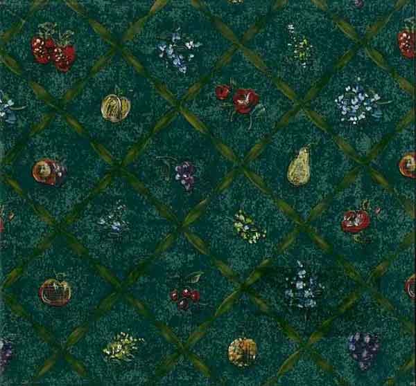 Vintage Fruit Lattice Wallpaper with Harlequin pattern