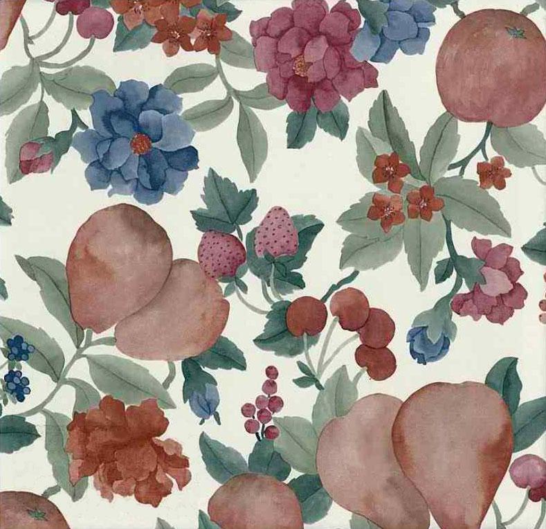 Fruit Floral Vintage Wallpaper in Red, Green, Blue & Cream