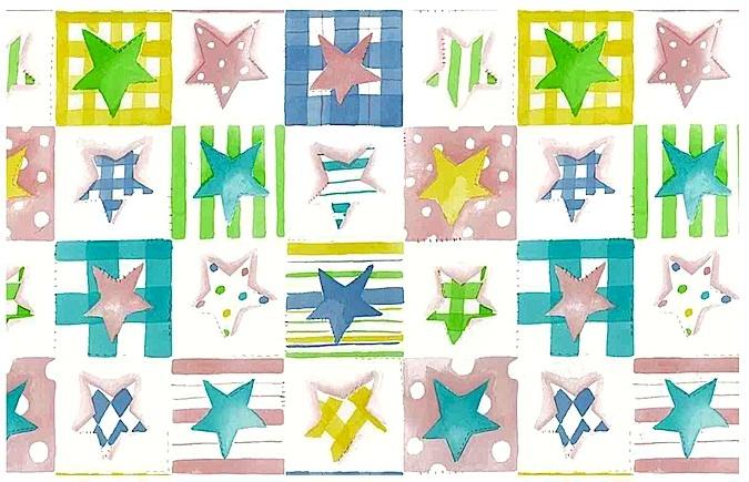 Plaid Stars Vintage Wallpaper in Pastels
