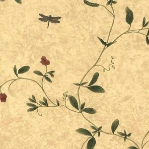 Raymond Waites Floral Vintage Wallpaper, Yellow Faux Finish