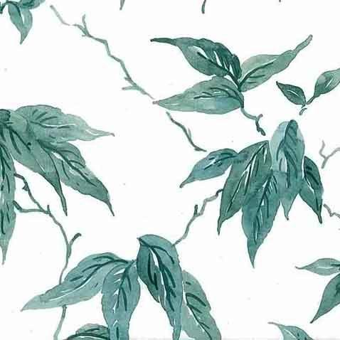 Leaves vintage wallpaper, Green Vines on White