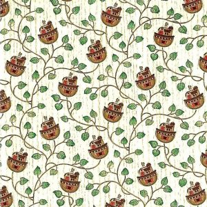 Noah's Ark vintage wallpaper, green, vines, cream, wood, brown