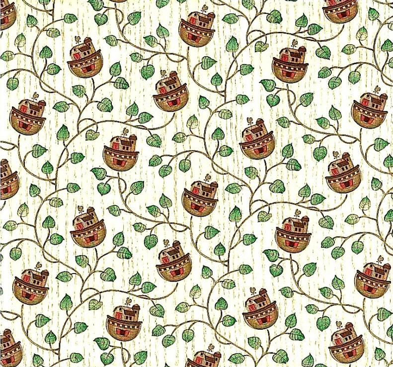 Noah's Ark vintage wallpaper, green, vines, cream, wood, brown