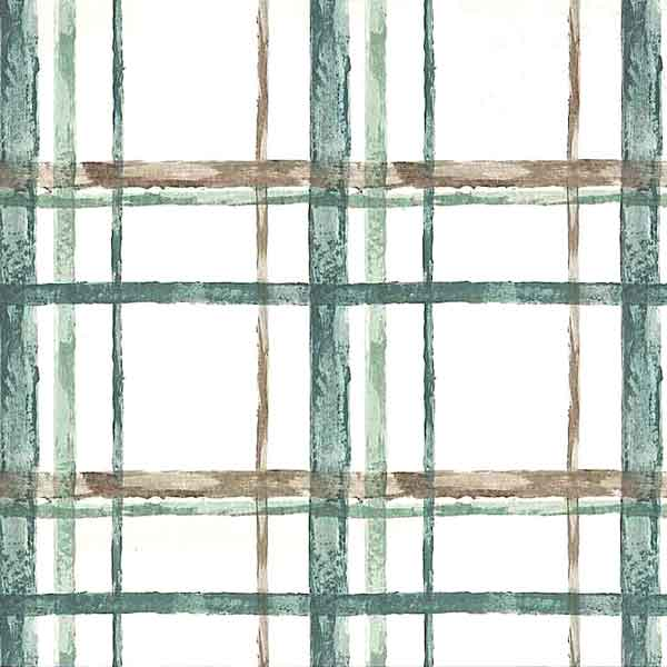 Green Brown Plaid Vintage Wallpaper with Brown on Off-White