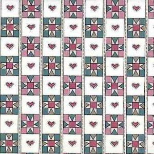 Heart Quilt Vintage Wallpaper in Pink & Teal