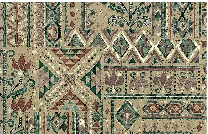 Vintage Southwestern Wallpaper Geometric Taupe Green 30609