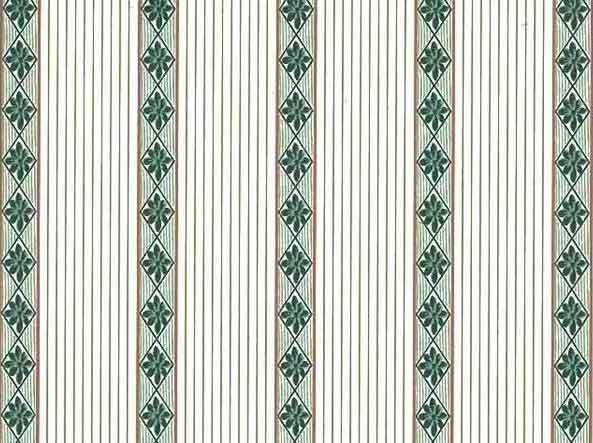 Vintage Diamond Striped Wallpaper in White, Green, & Gold