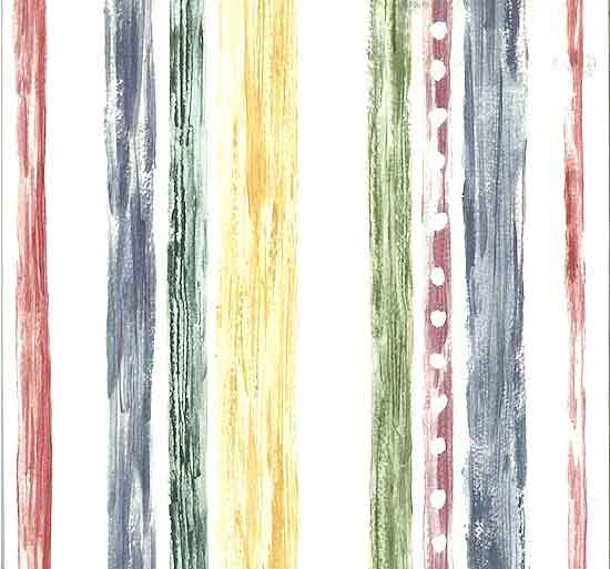 Primary Striped Vintage Wallpaper Rose Blue Green Yellow