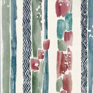 Chevron striped vintage Wallpaper in Blues & Greens