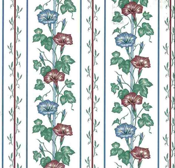 Emerald Green Grasscloth Wallpaper: Morning Glories Vintage Striped Wallpaper Red Blue 768