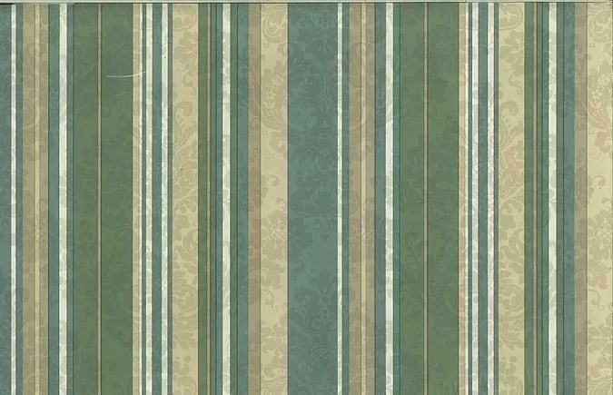 Vintage Green Striped Wallpaper in Taupe, Cream, & Blue Damask