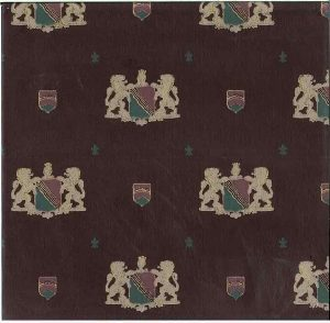vintage coat of arms wallpaper, Maroon, Gold Glaze