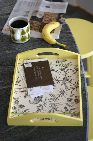 Crafts using wallpaper as a Tray Liner